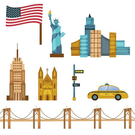 Set Of New York Symbols and Objects With Famous Landmarks. Composition Can be Used for Wrapping Paper, Wallpaper, Pattern Fills, Web Page Backgrounds. Cartoon Flat Style. Vector Illustration Ilustrace
