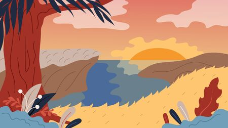 Nature Background With Landscape, River, Tree And Sunset. Panorama of Nature Landscape Valley on Sunset or Sunrise With Beautiful Hills. Relax Landscape Design.Cartoon Flat Style. Vector Illustration