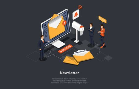 Isometric Newsletter Concept. People Are Reading News. Business Service to Provide Information Using Digital Sources or Paper Press. Social Broadcasting And Journalistic Reports. Vector Illustration