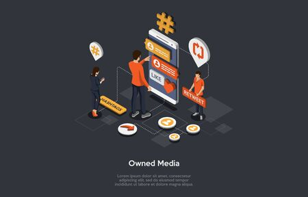 Owned Media, Digital Advertising, Online Publicity, Branding Concept And Publisher Promoting. People Promote Internet Business, Profiles By Retweet And Writing Hashtags. Isometric Vector Illustration