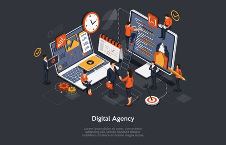 Concept d'agence numérique. Une équipe de personnes crée un graphique et des graphiques. Projets numériques, Brief clients. Le concept de l'idée de marketing, de stratégie, d'analyse de données. Illustration vectorielle isométrique