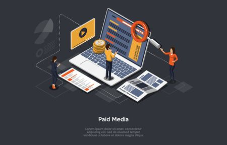 Paid Media Marketing Concept, Pay Per Click, PPC Campaign, Marketing platform, Online Documentation Inspection, Identity Development. Paid Media, Digital Auditing. Isometric Vector Illustration