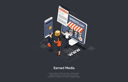 Earned Media, Digital Advertising, Online Publicity, Branding Concept And Publisher Promoting. People Develop Internet Websites, Advertisement, Marketplace Strategies. Isometric Vector Illustration