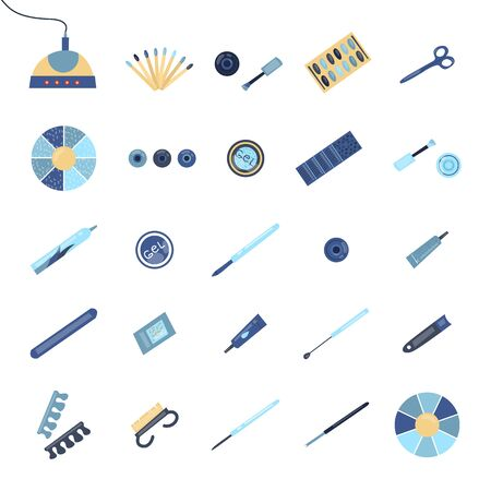 Concept Of Manicure, Beauty and Fashion. Manicure Equipment Set Of Different Work Tools Isolated On The White Background. Tools And Cosmetics For Nail Care. Cartoon Flat Style. Vector Illustration.