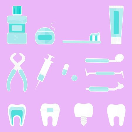 Concept Of Dentistry Prosthetics, Healthcare And Medicine. Tools For Medical Design, Dental Treatment And Care. Healthy Clean Teeth. Dentist Tools and Equipment. Cartoon Flat Vector illustration.