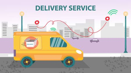Smart Delivery Service Concept. Mail Truck On The Cityscape Background With Navi Tags And Open Cardboard Box On the Side. Professional Fast World Delivery Services. Flat Style. Vector illustration