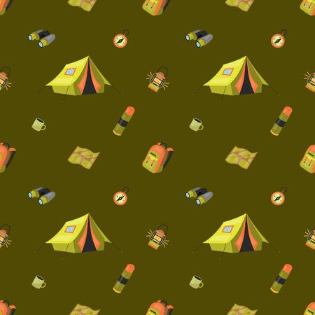 Camping Seamless Pattern Concept. Set of Equipment And Tools For Professional Camping And Good Time With Symbols and Icons. Summer Camp Seamless Pattern. Cartoon Flat style. Vector illustration