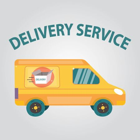 Smart Delivery Service Concept. Mail Truck Van On The Abstract Background With Navi Tags And Open Cardboard Box On the Side. Professional Courier Service. Cartoon Flat Style. Vector illustration.