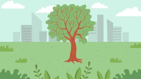 Simple Landscape with Green Park With Big Tree And Downtown. Urban Skyline Residential Houses, Summer Cityscape. Green City Park For Relax And Rest. Cartoon Flat Style. Vector Illustration
