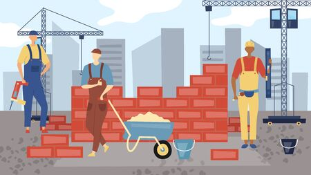 Construction Concept. Workers In Uniform Are Working. People Build A Buildings. Engineering and Constructions Workers, Building Engineers Group and Technicians People. Flat Style. Vector Illustration