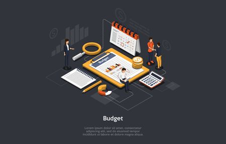 Isometric Budget Concept. Business Characters Are Researching and Planning Budget. People Are Setting Goals. Business Analysis, Digital Investment and Financial Planning. Cartoon Vector Illustration 向量圖像
