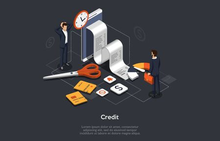 Isometric Bank Credit Concept. People Take Out A loan. Financial Collapse. Bank Manager Check Customer s Creditworthiness. Bank Takes A Decision And Changes Credit Card. Cartoon Vector Illustration.