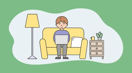 Freelance Work, Brainstorm And Self-Employment Concept. Busy Freelance Young Man Or Freelancer Is Working On Laptop Sitting On The Sofa At home. Cartoon Linear Outline Flat Style. Vector Illustration