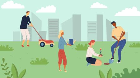 Gardening Concept. People Gardening, Mowing Lawn, Planting And Watering Flowers. Group Of Happy People Is Working Outdoor in The City Park With Cityscape Background. Cartoon Flat Vector Illustration. Vetores