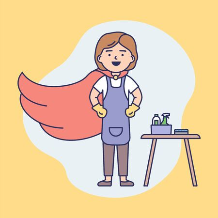 Professional Cleaning Service, Housework Concept. Woman Superhero In Uniform Ready To Clean Home And Office. Cleaning Products And Work Tools. Cartoon Outline Linear Flat Style. Vector Illustration