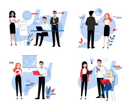 Creativity, Brainstorming, Innovation And Teamwork Concept. Business People Men And Women Develop A New Project Together In The Office. Cartoon Linear Outline Flat Style. Vector Illustrations Set