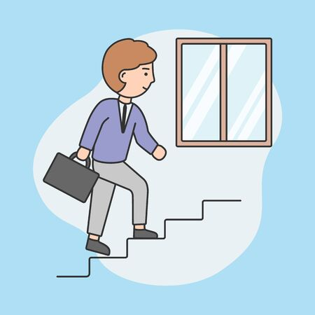 Businessman Working Day Concept. Young Businessman Is Going Upstairs With Diplomat. Successful Achievement, Development, Business And Finance. Cartoon Outline Linear Flat Style. Vector Illustration Stock Illustratie