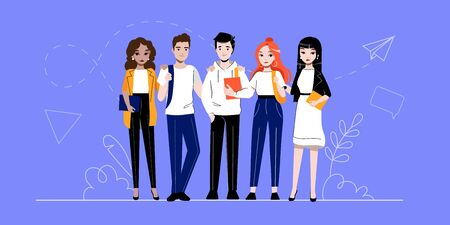 Creativity, Brainstorming, Innovation And Teamwork Concept. Group Of Successful Business Adherents People Or Students Is Standing In A Row Together. Cartoon Linear Outline Flat Vector Illustration Illustration