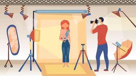 Photo Session Concept. Photographer With Camera Is Taking Shots Of Woman With Baby For Glamour Magazine Advertising. Studio Photo Shoot With Professional Equipment. Cartoon Flat Vector illustration