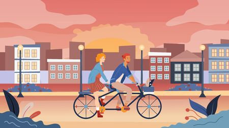 Loving Couple Have A Good Time, Riding Tandem Bicycle Together In The Park With Cityscape View. Summertime Vacation, Spare time, Leisure, Romantic Voyage. Love Relations. Flat Vector Illustration