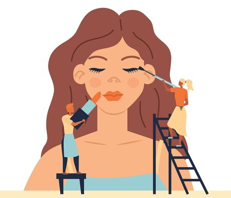 Concept Of Face Skin Care, Fashion Beauty Salon With Professional Staff. Tiny Characters Do Makeup For Woman Mannequin. People Put Lipstick, Add Eyeshadows. Cartoon Flat Style. Vector Illustration