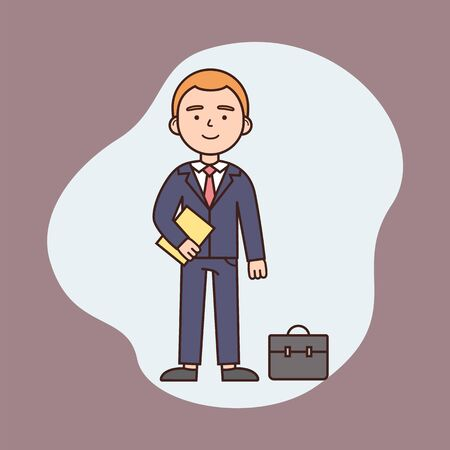 Businessman Working Day Concept, Successful Achievement, Business And Finance. Self Confident Businessman Standing With Diplomat And Paper Documents. Cartoon Outline Linear Flat Vector Illustration