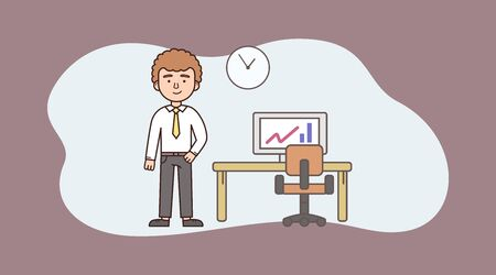 Concept Of Time Management, Stock Market. Young Successful Trader Or Businessman Is Standing Near Desk With Computer With Growing Chart On the Monitor. Cartoon Outline Linear Flat Vector Illustration