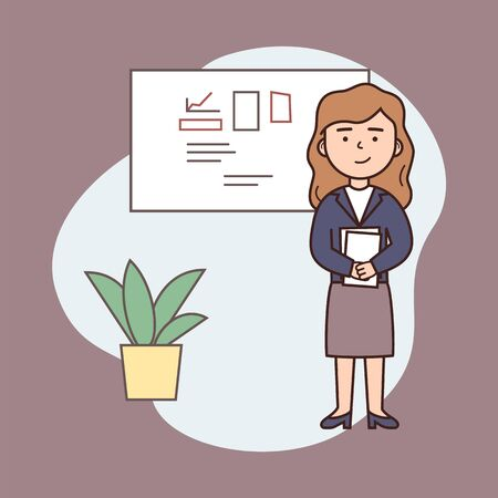 Business Woman Concept. Young Cheerful Business Woman Holding Paper Documents On Abstract Background. The Standard Of Modern Successful Girl. Cartoon Outline Linear Flat Style. Vector Illustration