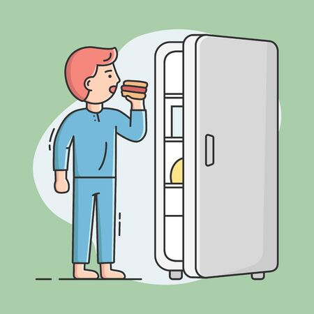 Cheat Meal And Healthy Lifestyle Concept. Young Man Is Eating Hot Dog From The Fridge. Male Character Is Cheating On His Diet, Eating Unhealthy Meal. Cartoon Linear Outline Flat Vector Illustration