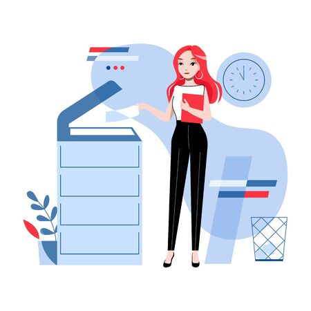 Concept Of Office Work. Young Pretty Girl Is Working In The Office Copying and Scanning Documents, Sending Faxes. Businesswoman is Using Copy Machine. Cartoon Linear Outline Flat Vector Illustration 免版税图像 - 142558577