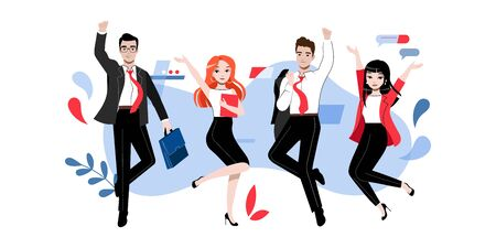 Creativity, Brainstorming, Innovation, Teamwork Concept. Group Of Happy Successful Business Adherents People Or Students In Different Poses Together. Cartoon Linear Outline Flat Vector Illustration