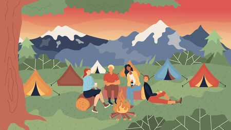 Tent Camp Concept. Group Of People Or Family Are Sitting At The Fire, Communicating And Having A Good Time. Beautiful Tent Camp With Evening Mountains View. Cartoon Flat Style. Vector Illustration.
