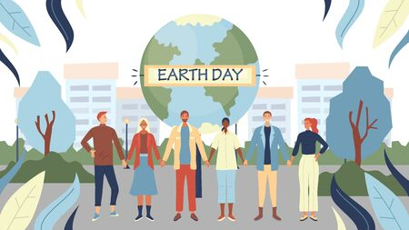 Earth Day Concept. People Are Preparing For The Day Of The Earth. People Holding Hands Together. People Stand near Big Earth Globe On The Cityscape Background. Cartoon Flat Style. Vector Illustration.