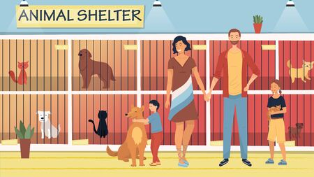 Concept Of Animal Shelter for Stray Pets. Kind People Help Homeless Animals. Family Adopting Dog And Cat From Shelter. Illustration With Pets Sitting in Cages. Cartoon Flat Style. Vector Illustration
