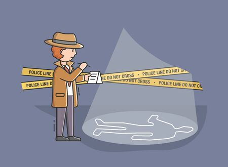 Concept Of Private Detective. Detective Standing Near Crime Scene Walled By Yellow Police Tape With Do Not Cross SIgn. Process Of Searching Evidences. Cartoon Linear Outline Flat Vector Illustration