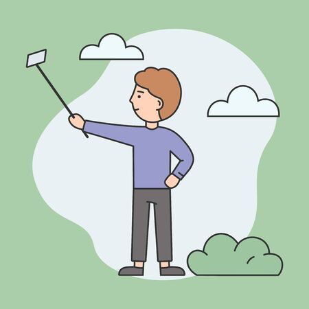 Concept Of Making Selfie. Young Attractive Man Is Making Selfie By Smartphone Stick On The Street. Young Boy Is Smiling And Having A Good Time. Cartoon Linear Outline Flat Style Vector Illustration Banque d'images - 142607967