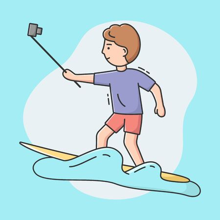 Concept Of Making Selfie. Video Blogger Is Making Selfie Or Vlog By Smartphone Stick Riding Surfboard. Surfer Is Smiling And Having A Good Time. Cartoon Linear Outline Flat Style. Vector Illustration Banque d'images - 142607974