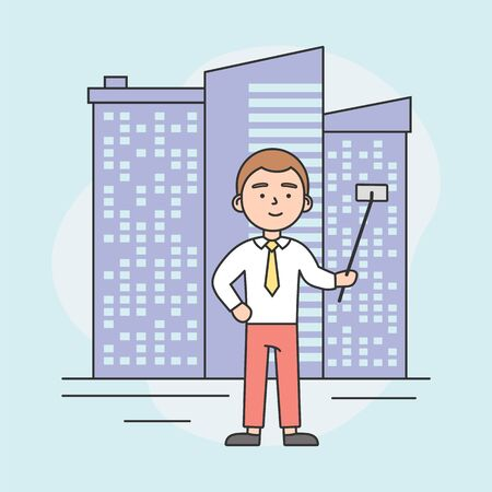 Concept Of Making Selfie. Video Blogger Is Making Selfie Or Vlog By Smartphone Stick On Cityscape Background. Boy Is Smiling And Having A Good Time. Cartoon Linear Outline Flat Vector Illustration Banque d'images - 142607975