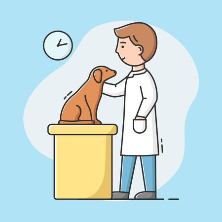 Concept Of Veterinary Clinic. Young Veterinarian Is Examining Puppy Dog Sitting On The Table In The Veterinary Clinic. Pets Healthcare And Medicine. Cartoon Linear Outline Flat Vector Illustration