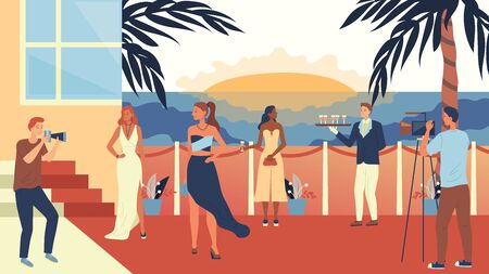 Concept Of Film Festival Or Privat Party. Famous People Are Walking Along Red Carpet, Posing To Paparazzi, Drink Cocktails And Enjoying The Sunset In Privat Club. Cartoon Flat Illustration