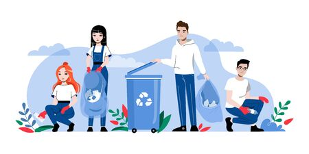 Concept Of Zero Waste And Recycling, Save Planet. Characters Clean Street Of Trash And Put It Into Container. People Are Pick Up And Sorting Garbage. Cartoon Linear Outline Flat Illustration