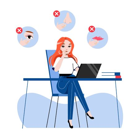 Concept Of Personal Hygienic, Precautionary Measures For Avoidance Viruses Infection. Woman Office Worker Is Touching Her Face. Virus Protection. Cartoon Linear Outline Flat Style Vector Illustration