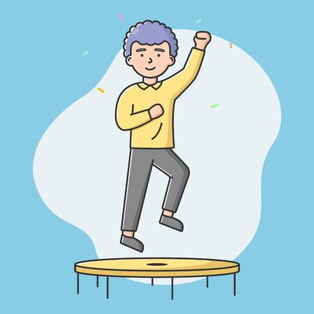 Concept Of Healthcare, Sport And Leisure. Young Boy Is Jumping On Trampoline In The Activity Park Or Gym. Man Is Having A Good Time And Working Out. Cartoon Linear Outline Flat Vector Illustration