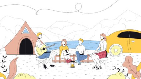 Concept Of Camping And Summer Landscapes. Characters Are Having A Good Time Outdoor. Family Is Sitting Near Tent And Singing Songs With Guitar. Cartoon Linear Outline Flat Style. Vector Illustration. Illustration