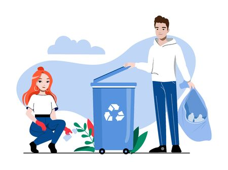 Concept Of Zero Waste And Recycling, Save Planet. Volunteers Picking Up Trash And Put It Into Container. People Are Pick Up And Sorting Garbage. Cartoon Linear Outline Flat Style. Vector Illustration