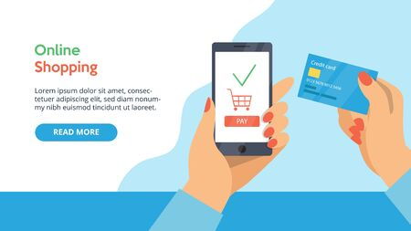 Concept Of Online Payment. Website Landing Page. Woman s Hand Is Holding Credit Card. Customer Is Paying For Purchases Online By Credit Card And Smartphone. Web Page Cartoon Flat Vector Illustration