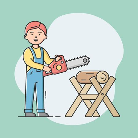 Joiner Profession Concept. Young Professional Carpenter In Uniform With Work Tools At Workplace And Sawing Log By Chainsaw. Construction Woodworker. Cartoon Linear Outline Flat Vector Illustration
