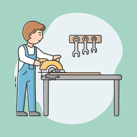 Joiner Profession Concept. Young Professional Carpenter In Uniform With Work Tools Using Table Saw To Sawing Wood Pieces. Workman At Workplase. Cartoon Linear Outline Flat Style. Vector Illustration