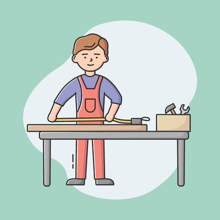 Joiner Profession Concept. Young Professional Carpenter In Uniform With Work Tools Using Tape Measure To Measure Wood Pieces. Workman At Workplace. Cartoon Linear Outline Flat Vector Illustration Illustration