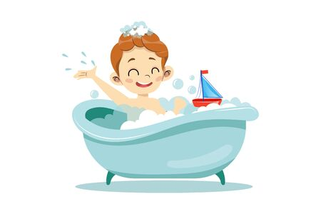 Concept Of Personal Hygiene Procedures. Happy Cheerful Boy Is Taking A Bath. Kid Is Relaxing And Playing With Toy Boat In Bathtub With Lots Of Foam And Soap Bubbles. Cartoon Flat Vector Illustration